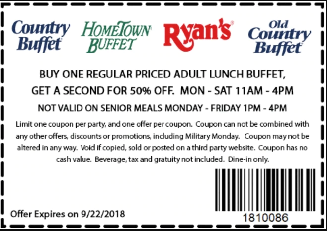 Old Country Buffet Printable Coupons